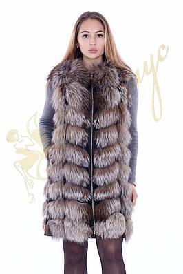 Меховая из чернобурки длинная жилетка