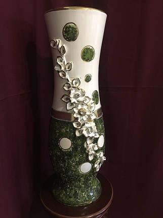 Ваза напольная керамическая для цветов и цветочных композиций мрамор зеленый , фото 2
