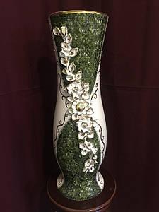 Ваза напольная керамическая для цветов и цветочных композиций мрамор зеленый