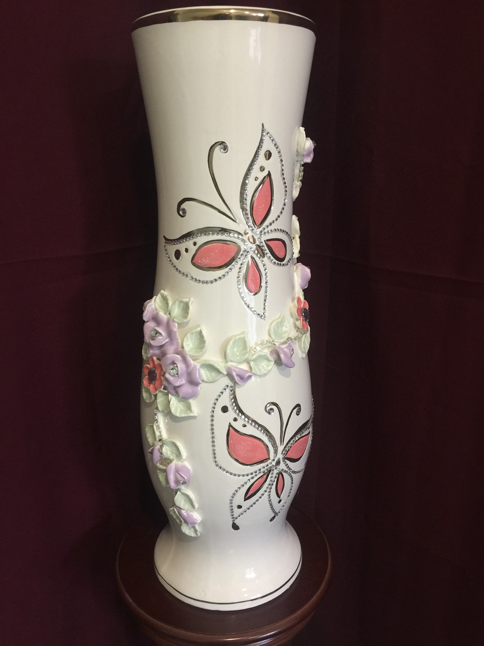 Ваза напольная керамическая для цветов и цветочных композиций пастель
