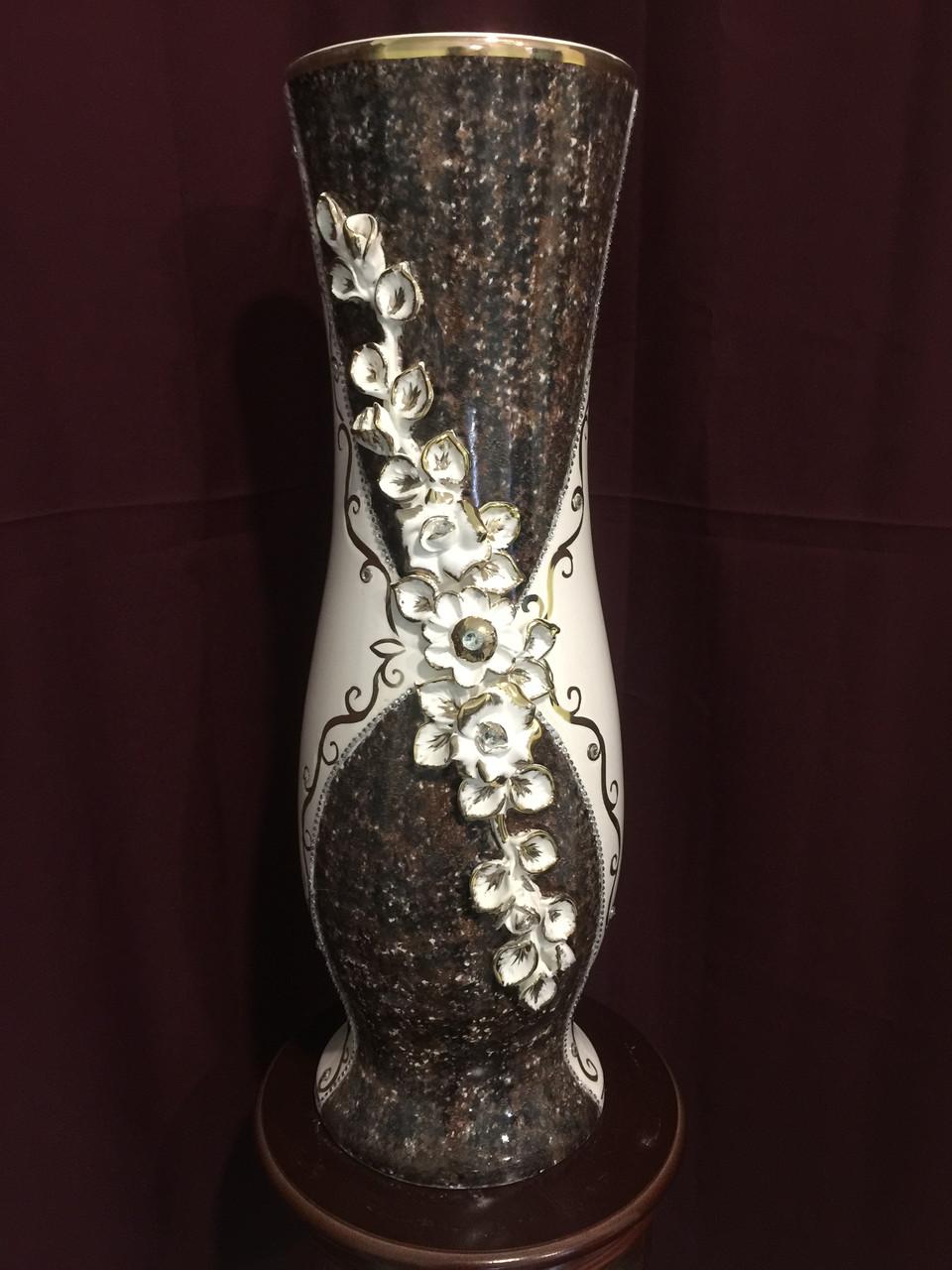 Ваза напольная керамическая для цветов и цветочных композиций мрамор коричневый