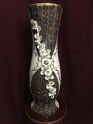 Ваза напольная керамическая для цветов и цветочных композиций мрамор коричневый , фото 2