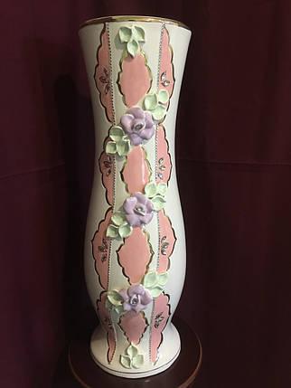 Ваза напольная керамическая для цветов и цветочных композиций декор пастель, фото 2