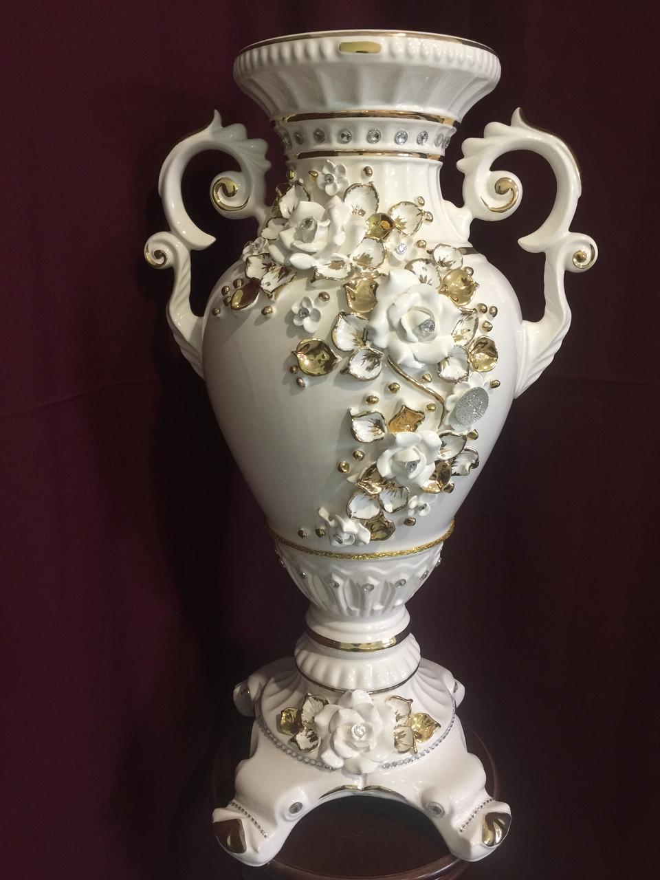 """Ваза напольная керамическая для цветов и цветочных композиций """"Тисида"""" белая с золотом"""