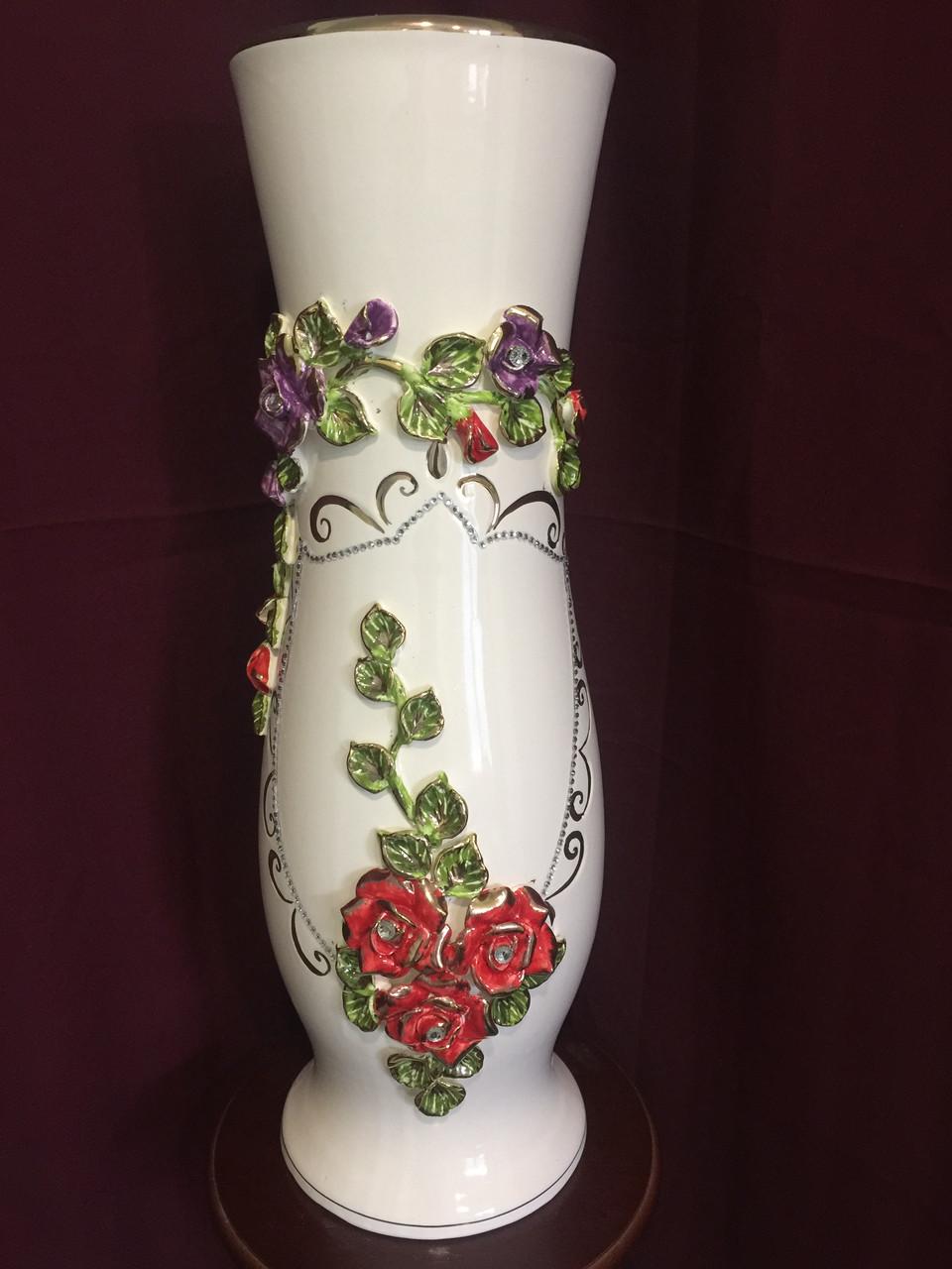 Ваза напольная керамическая для цветов и цветочных композиций цветная лепка