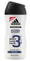 """Adidas гель для душа,шампунь мужской 3в1 """"Hydra Sport"""" (250 мл) Франция"""