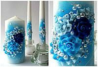 Набор свадебных свечей в синем