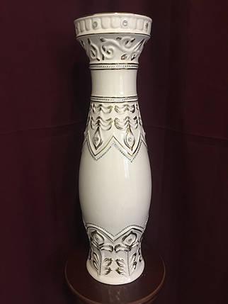 Ваза напольная керамическая для цветов и цветочных композиций  белая с золотом, фото 2