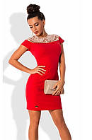 Платье красного цвета с французской вышивкой