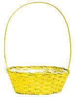 Корзина для цветов из лозы желтая 60 х 35 см