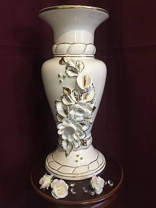 Ваза настольная Камелия  белая с золотом, фото 2