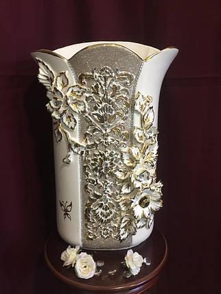 Ваза настольная Пазумент  белая с золотом, фото 2