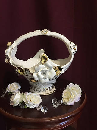 Конфетница  Корзинка  белая с золотом, фото 2