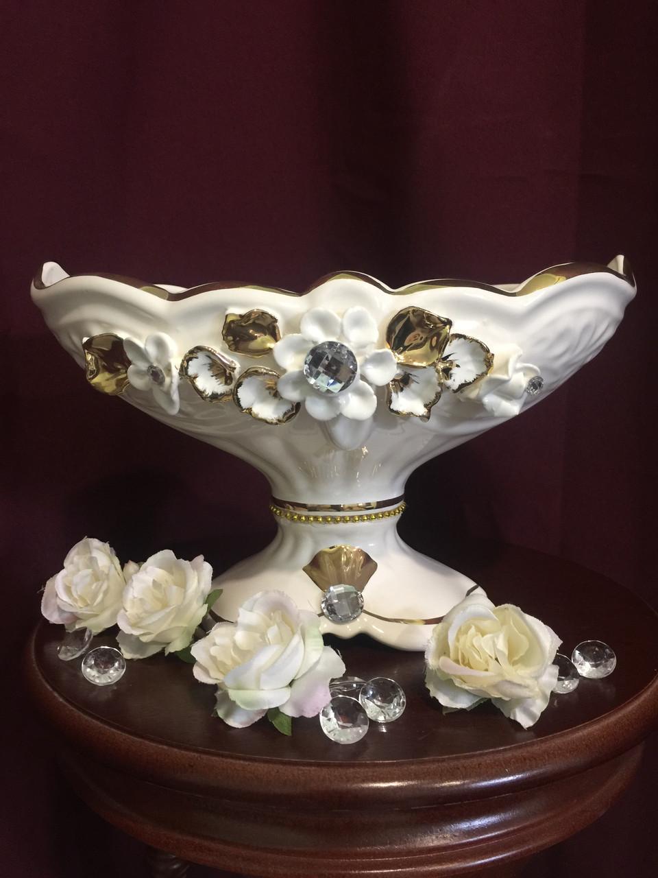 Конфетница  Орхидея  белая с золотом