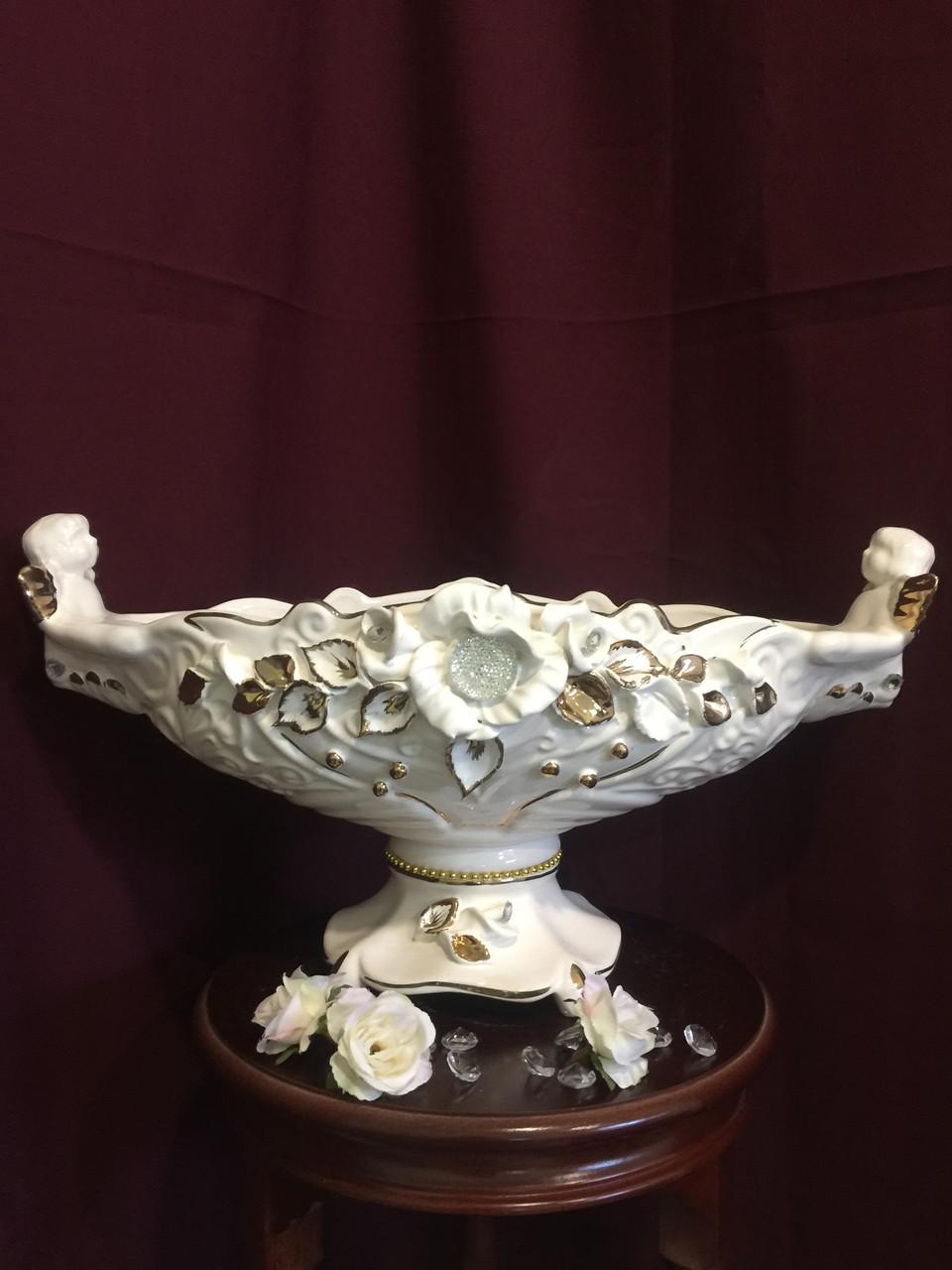 Фруктовница Гортензия  белая с золотом