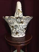 Фруктовница Корзинка большая  белая с золотом