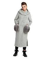 Пальто макси с меховыми карманами серое, фото 1