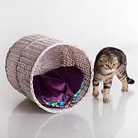 Willow Twig Cat Tube White - Трубчатый (домик-корзинка из лозы для кота)