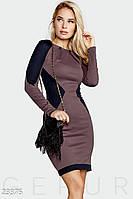 Двухцветное платье-футляр. Цвет сиренево-синий.