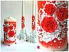 Набор свадебных свечей в красном
