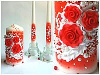 Набор свадебных свечей в красном, фото 1