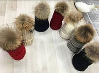 Женская  стильная шапка с натуральным мехом(цвета в ассортименте)