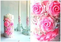 Набор свадебных свечей в розовом