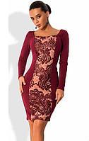 Платье бордового цвета с французской вышивкой