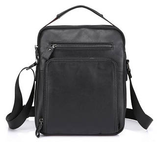 Надежная мужская сумка-барсетка формата А5 из натуральной кожи черная