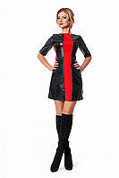 Яркое и дерзкое молодежное мини-платье из экокожи