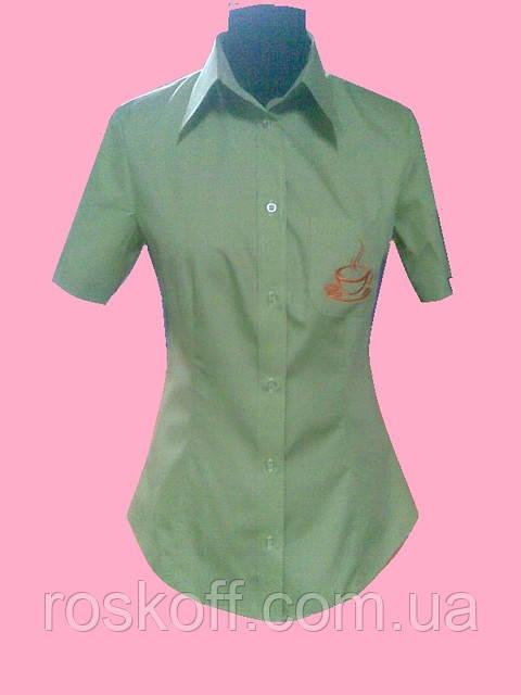 Женская блузка на короткий рукав салатового цвета