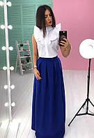 Костюм стильный с юбкой в пол макси и белой рубашкой разные цвета 6Kb579