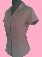 Женская блузка на короткий рукав коричневого цвета