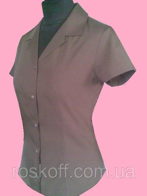 9350d3c462b Женская блузка на короткий рукав коричневого цвета - Оптовая и розничная  продажа мужской и женской одежды