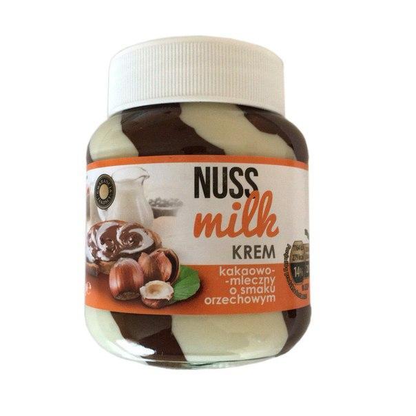 Шоколадна паста NUSS MILK Шоколадно-молочна з горіховим смаком (Нус Мілк) 400 гр в стекляной банку