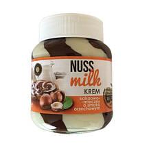 Шоколадная паста NUSS MILK Шоколадно-молочная с ореховым вкусом (Нус Милк) 400 гр в стекляной банке