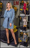 Платье Багира р M,L,XL,ХХL женское осеннее весеннее на работу батал теплое из ангоры большого размера бежевое