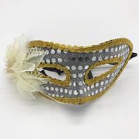 Карнавальная маска пластик с цветком и пайетки
