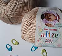 Нитки для вязания Baby Wool полушерсть беж