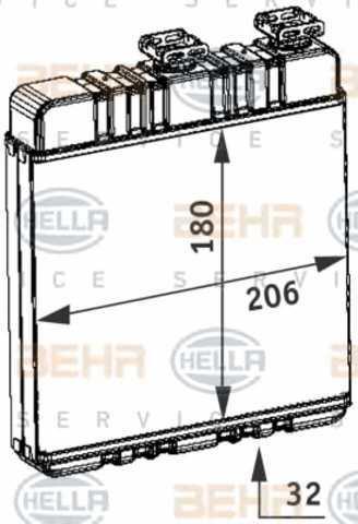 Радиатор печки Opel Astra G 1998- (пластик) 210*180*32мм по сотах KEMP