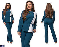 Модный батальный костюм под пояс с двухцветной кофтой: синий с белым. Арт-14141