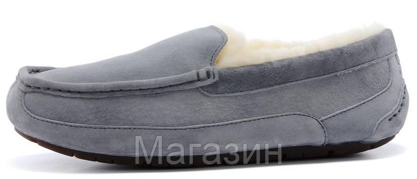 Мужские зимние мокасины UGG Australia Ascot Grey замшевые с мехом серые
