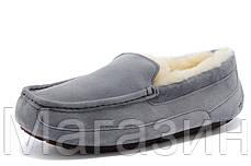 Мужские зимние мокасины UGG Australia Ascot Grey замшевые с мехом серые, фото 3