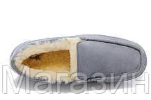 Мужские зимние мокасины UGG Australia Ascot Grey замшевые с мехом серые, фото 2