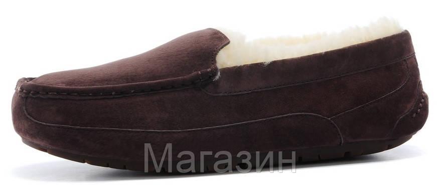 Мужские зимние мокасины UGG Australia Ascot Chocolate замшевые с мехом коричневые