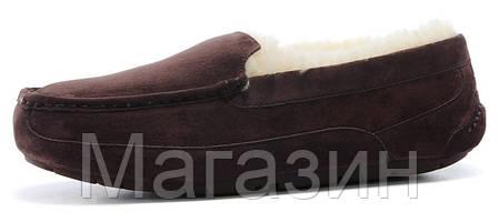 Мужские зимние мокасины UGG Australia Ascot Chocolate замшевые с мехом коричневые, фото 2
