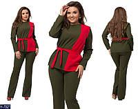 Модный батальный костюм под пояс с двухцветной кофтой: хаки с красным. Арт-14141