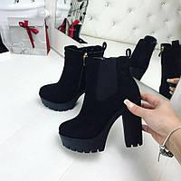 Осенние женские ботинки замшевые на каблуке