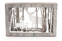 "Декоративная эко-композиция в раме ""Олени в лесу"" с подсветкой LED 25 см"