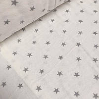 Фланелевая ткань серые звезды 1см на белом фоне  №767
